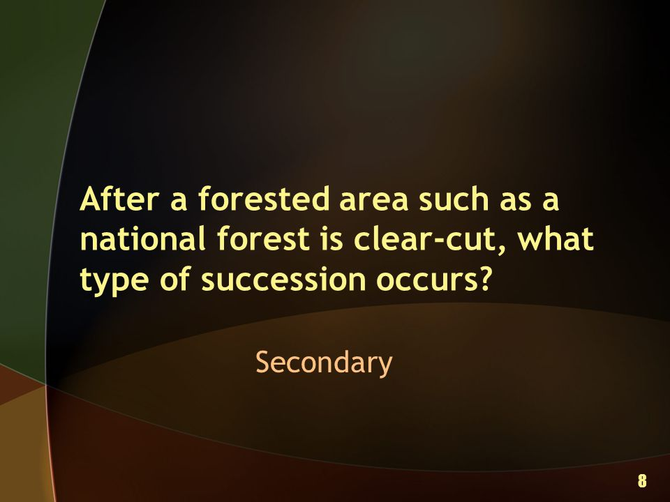 After a forested area such as a national forest is clear-cut, what type of succession occurs