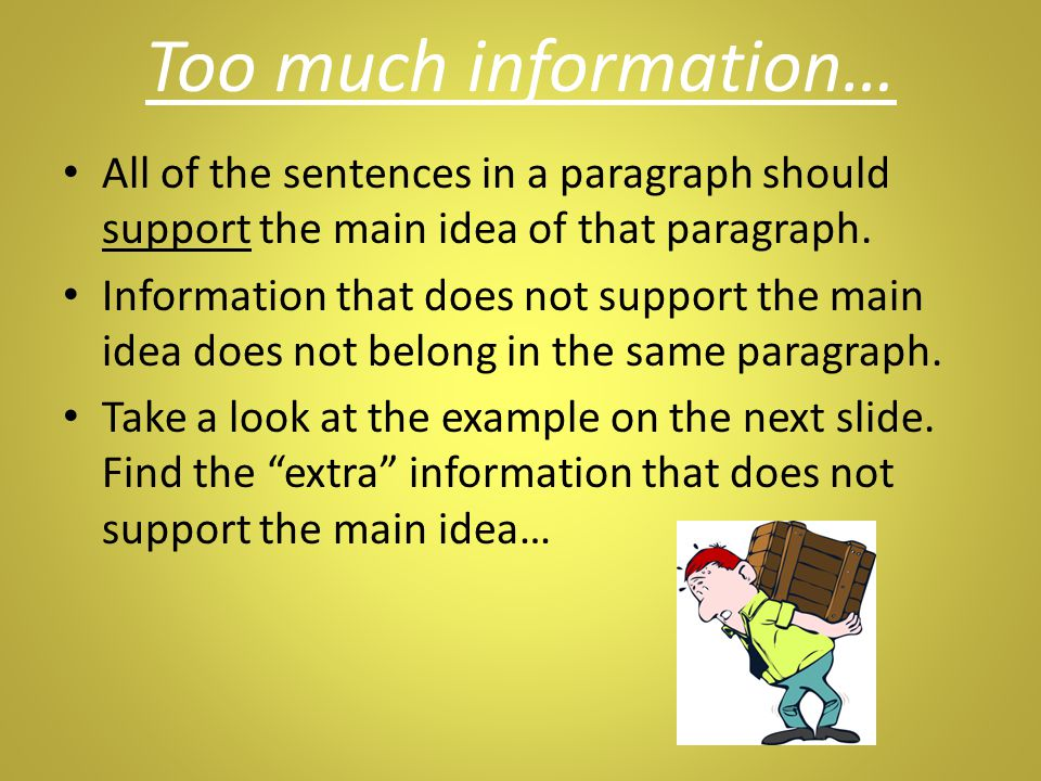 Too much information… All of the sentences in a paragraph should support the main idea of that paragraph.