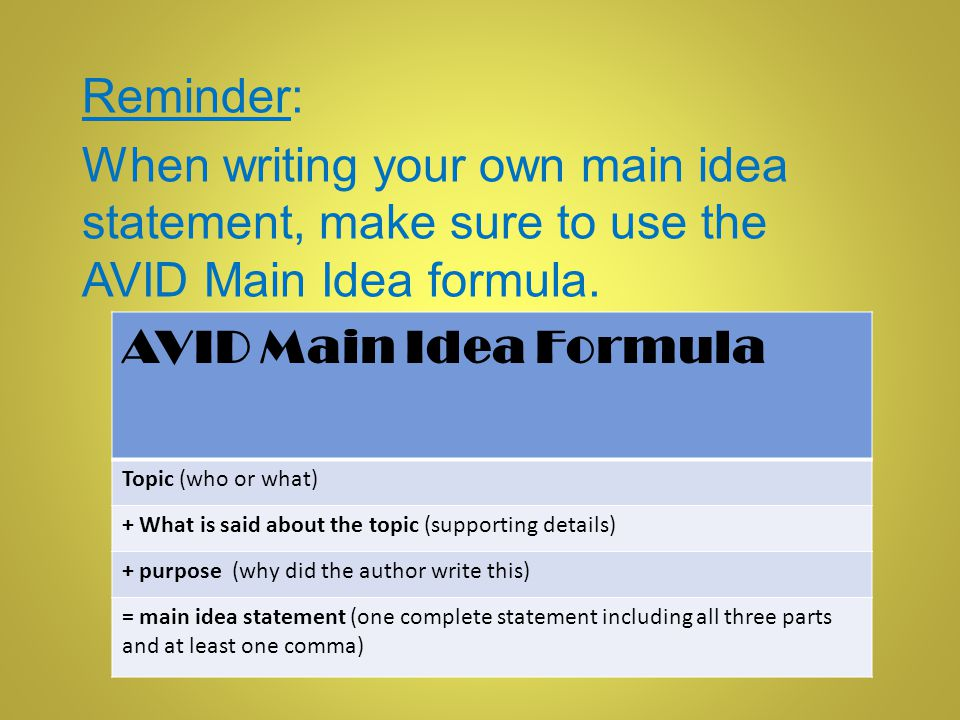 Reminder: When writing your own main idea statement, make sure to use the AVID Main Idea formula. AVID Main Idea Formula.