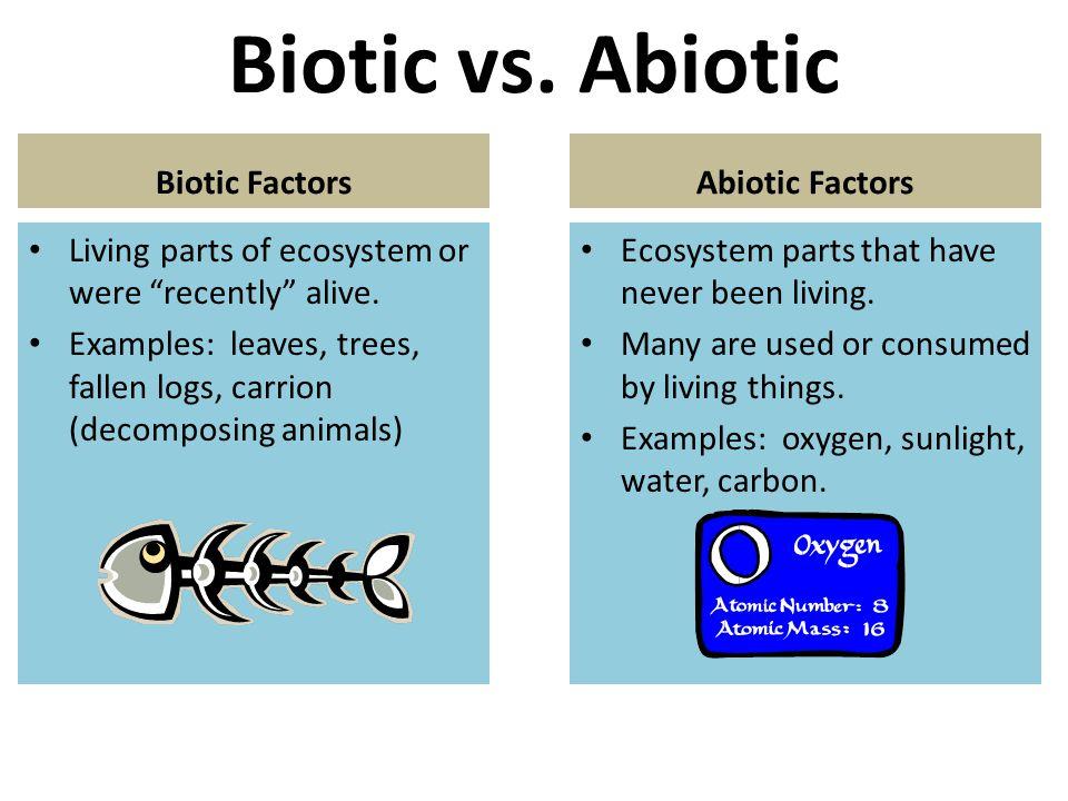Biotic vs. Abiotic Biotic Factors Abiotic Factors