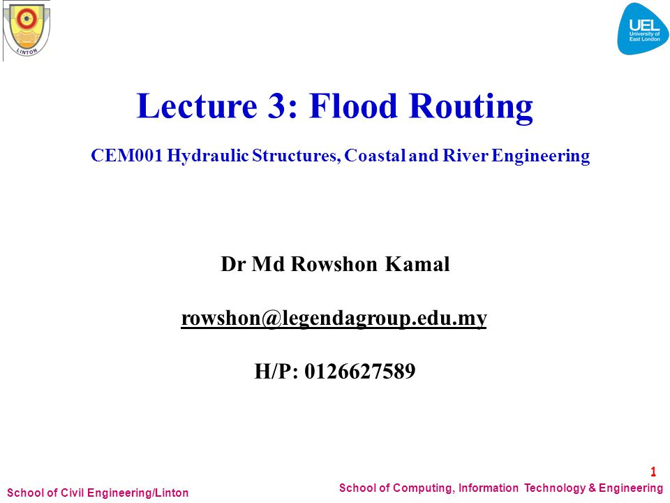 CEM001 Hydraulic Structures, Coastal and River Engineering