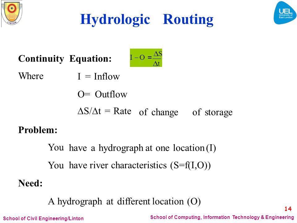 Hydrologic Routing I  O  S Continuity Where Equation: I = Inflow
