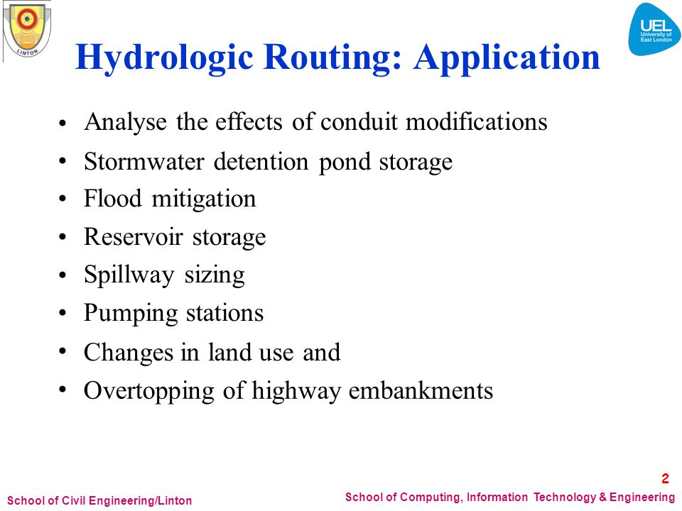 Hydrologic Routing: Application