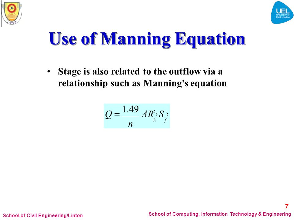 Use of Manning Equation