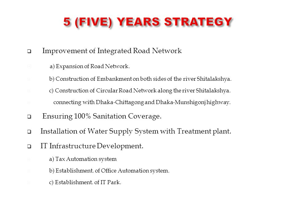 5 (Five) Years STRATEGY Improvement of Integrated Road Network