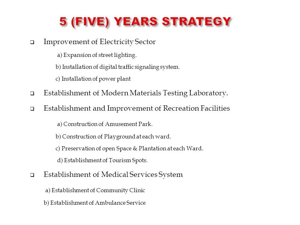 5 (Five) Years STRATEGY Improvement of Electricity Sector