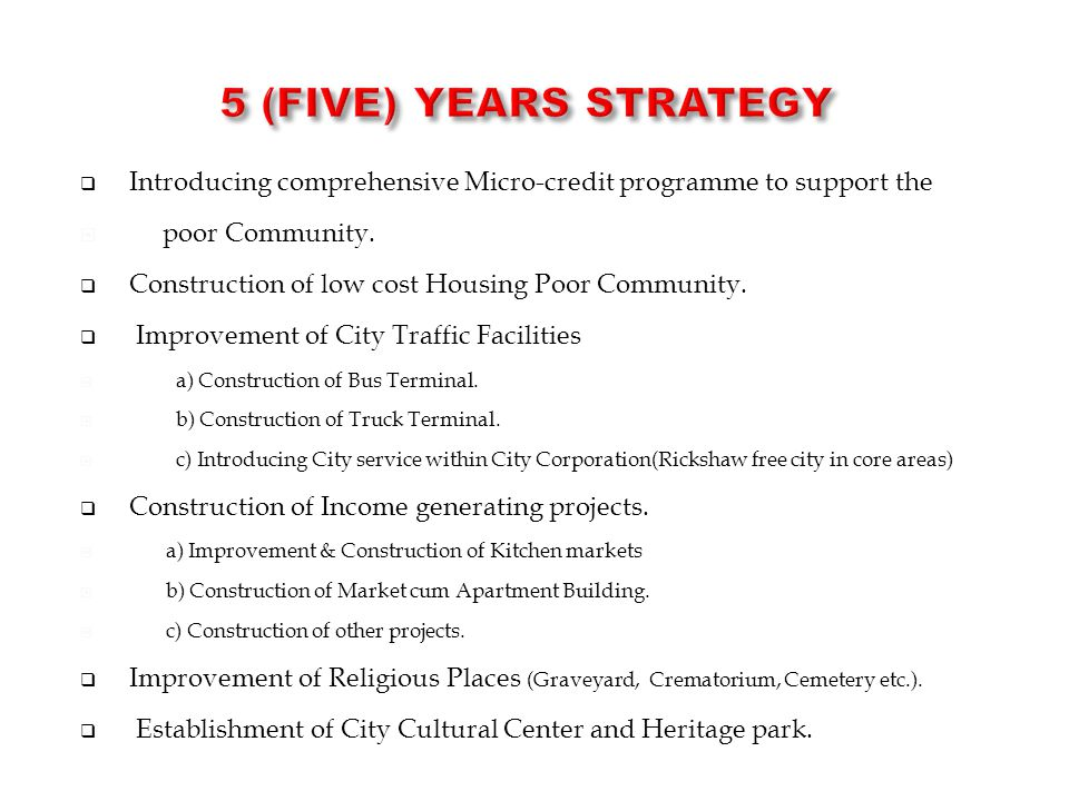 5 (Five) Years STRATEGY Introducing comprehensive Micro-credit programme to support the. poor Community.