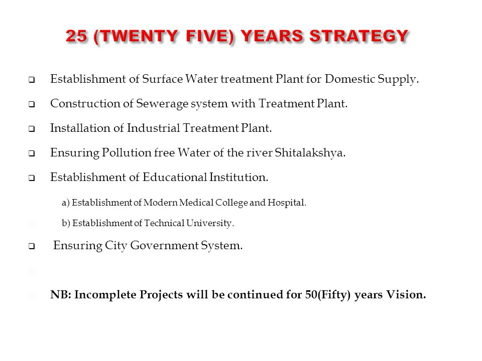 25 (TWENTY FIVE) Years STRATEGY