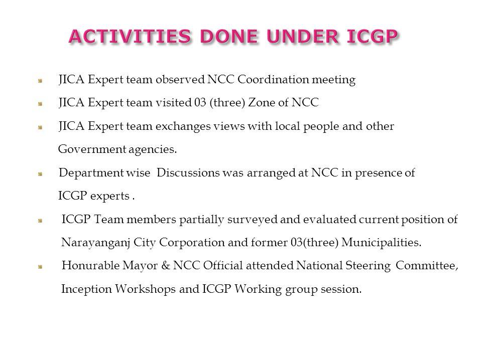ACTIVITIES DONE Under ICGP