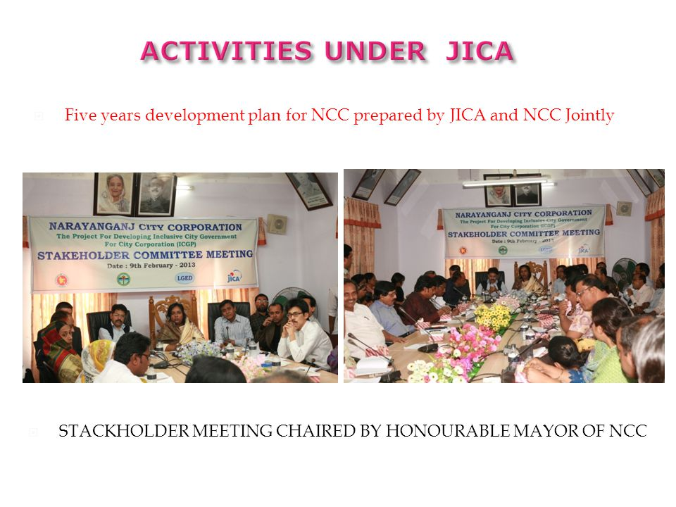 ACTIVITIES under JICA Five years development plan for NCC prepared by JICA and NCC Jointly.