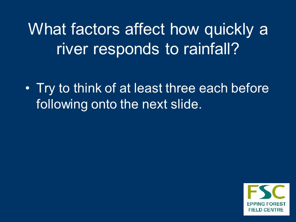 What factors affect how quickly a river responds to rainfall