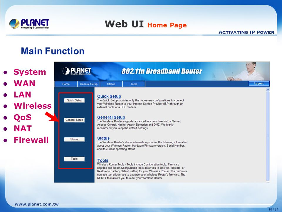 Web UI Home Page Main Function System WAN LAN Wireless QoS NAT