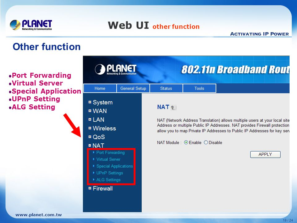 Web UI other function Other function Port Forwarding Virtual Server