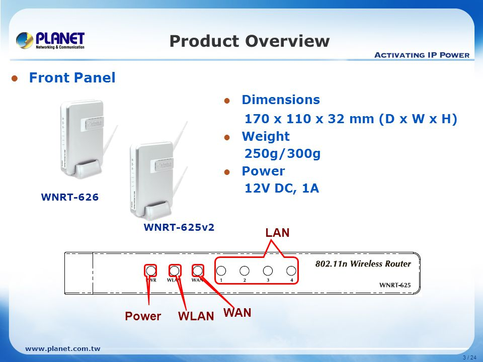 Product Overview Front Panel Dimensions 170 x 110 x 32 mm (D x W x H)