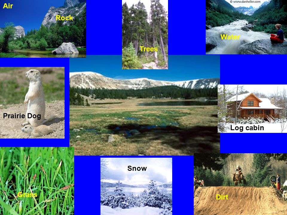 Air Rock Water Trees Prairie Dog Log cabin Snow Grass Dirt