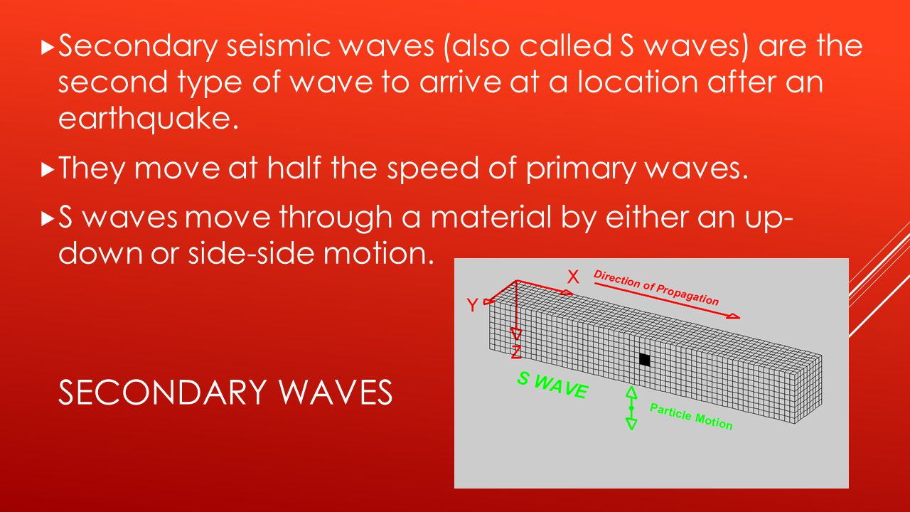 Secondary seismic waves (also called S waves) are the second type of wave to arrive at a location after an earthquake.