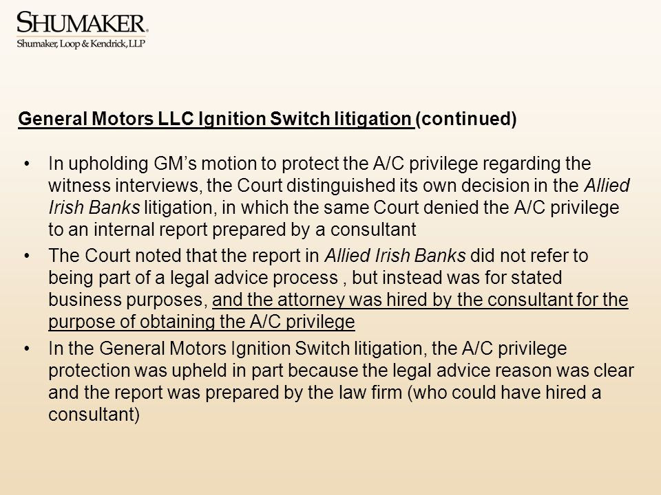 General Motors LLC Ignition Switch litigation (continued)