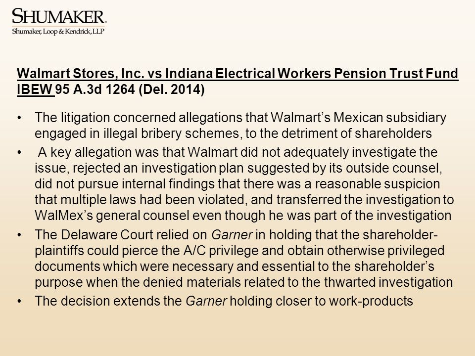 Walmart Stores, Inc. vs Indiana Electrical Workers Pension Trust Fund IBEW 95 A.3d 1264 (Del. 2014)
