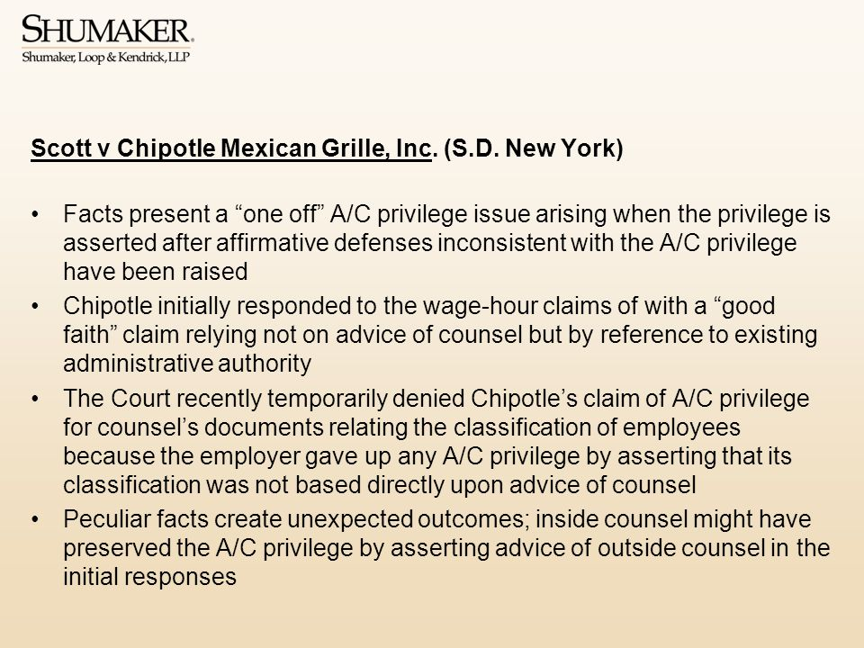 Scott v Chipotle Mexican Grille, Inc. (S.D. New York)