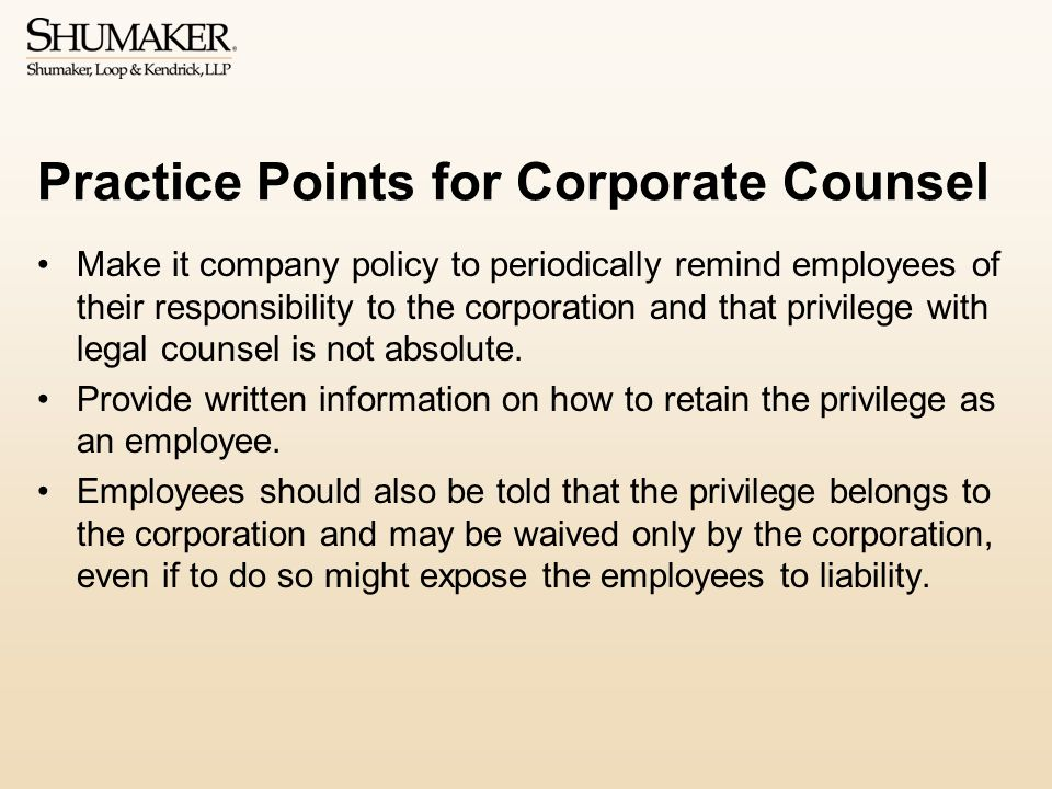 Practice Points for Corporate Counsel
