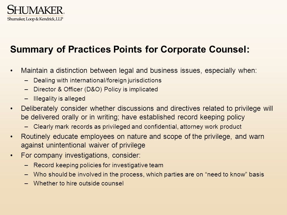 Summary of Practices Points for Corporate Counsel: