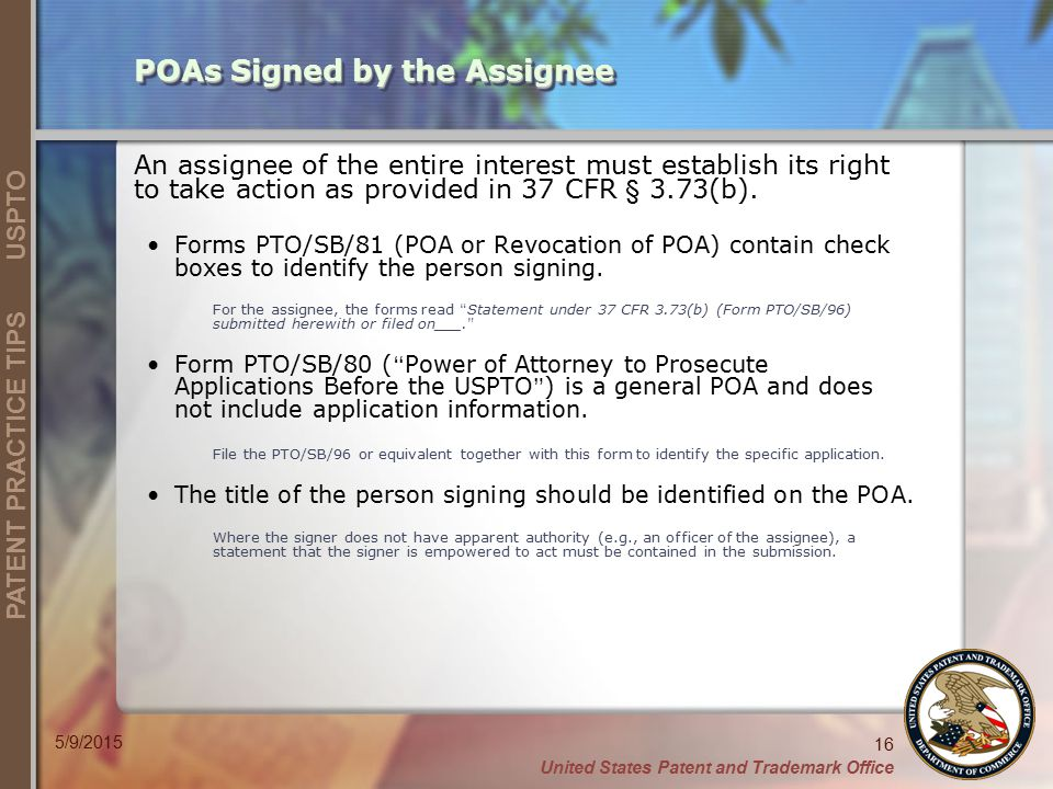 POAs Signed by the Assignee