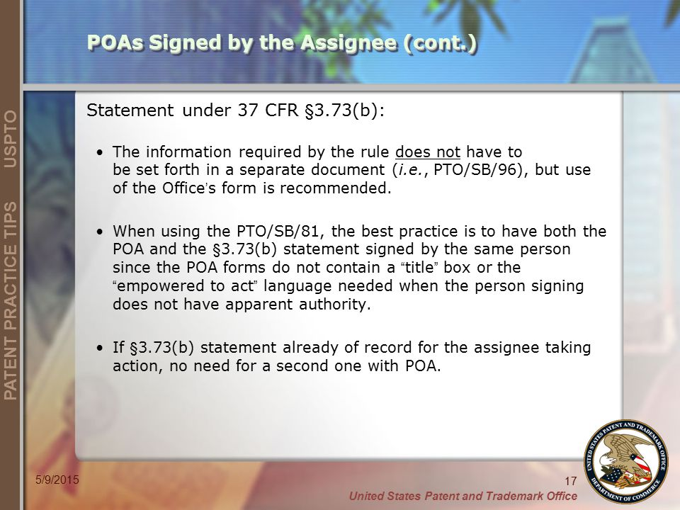 POAs Signed by the Assignee (cont.)