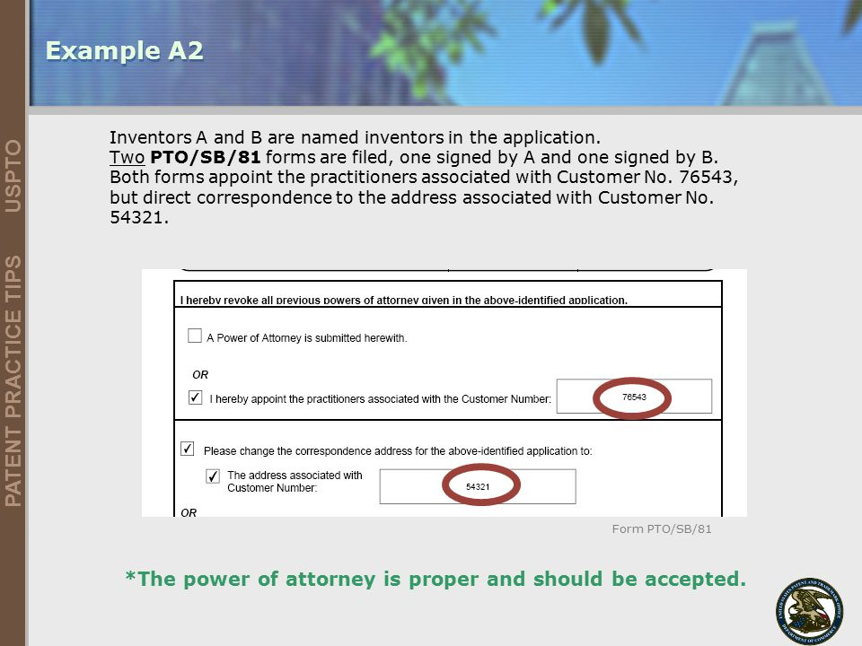 Example A2 *The power of attorney is proper and should be accepted.