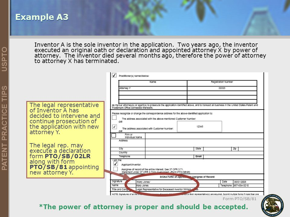 Example A3 *The power of attorney is proper and should be accepted.