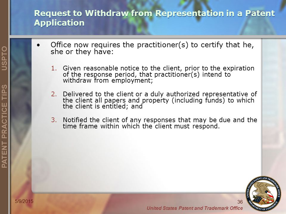 Request to Withdraw from Representation in a Patent Application