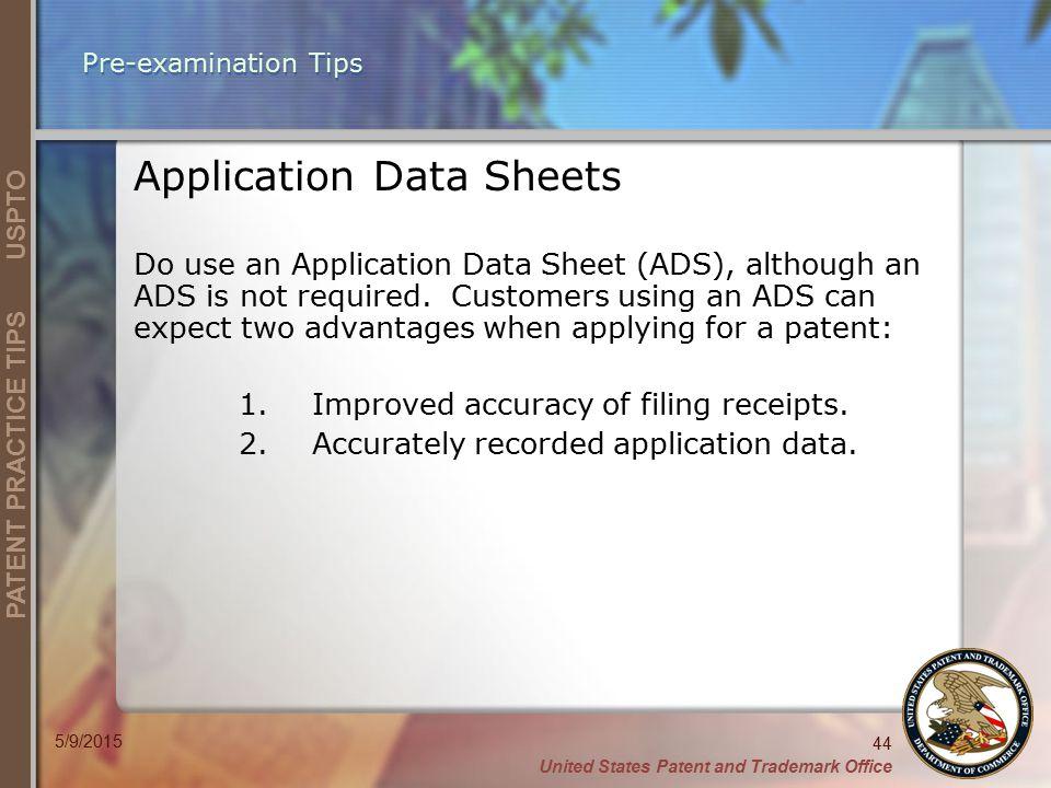 Application Data Sheets