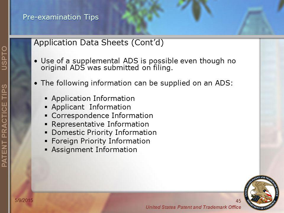 Application Data Sheets (Cont'd)