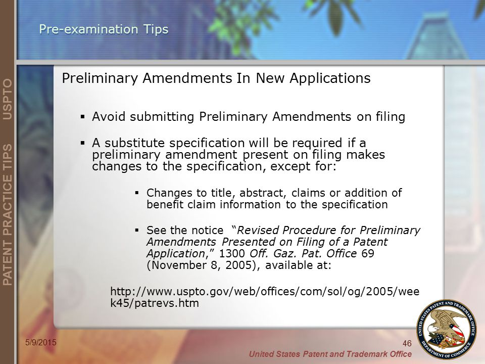 Preliminary Amendments In New Applications