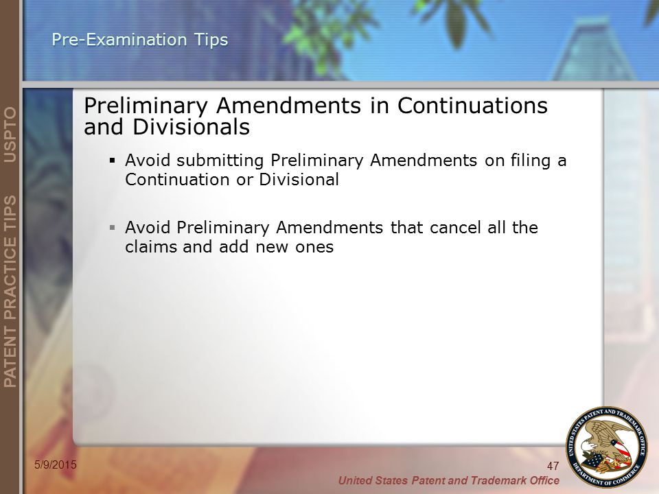 Preliminary Amendments in Continuations and Divisionals