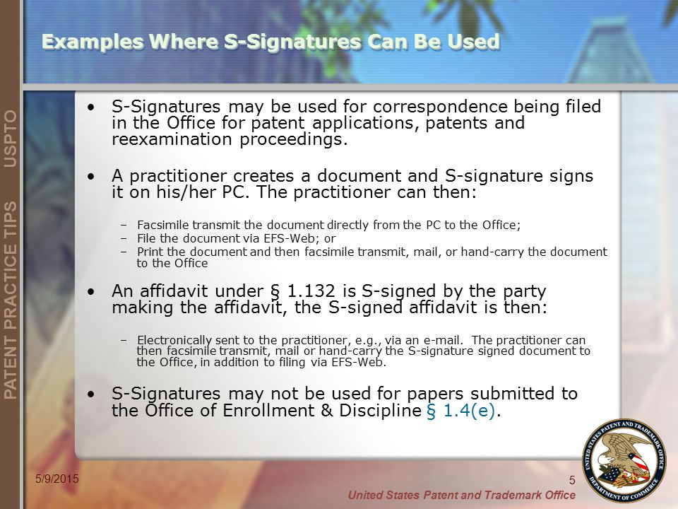 Examples Where S-Signatures Can Be Used