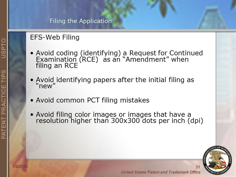 Filing the Application