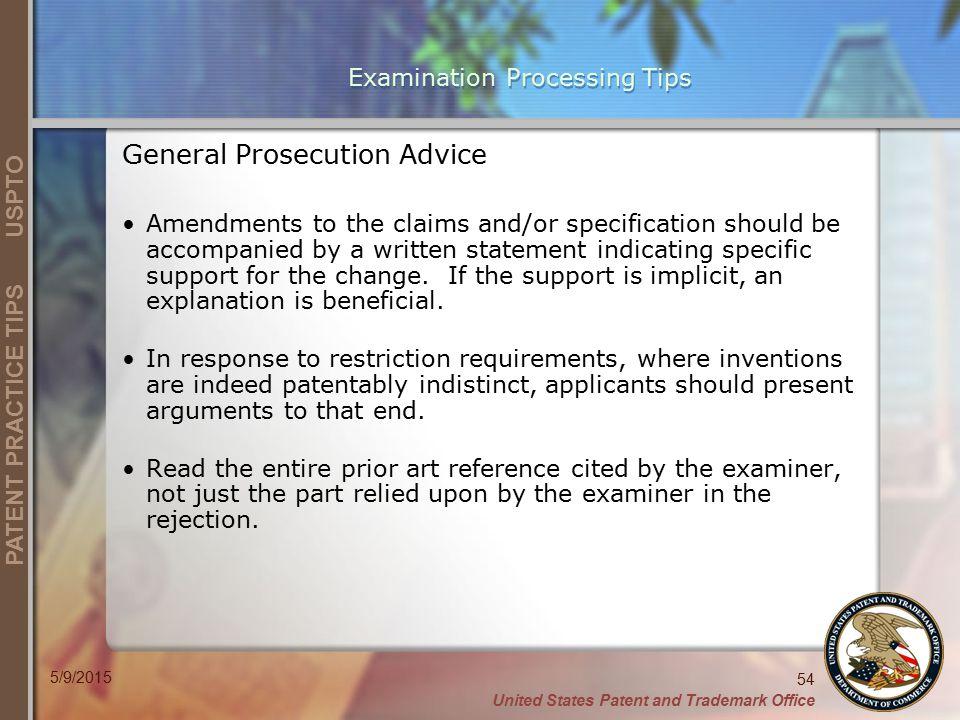 Examination Processing Tips
