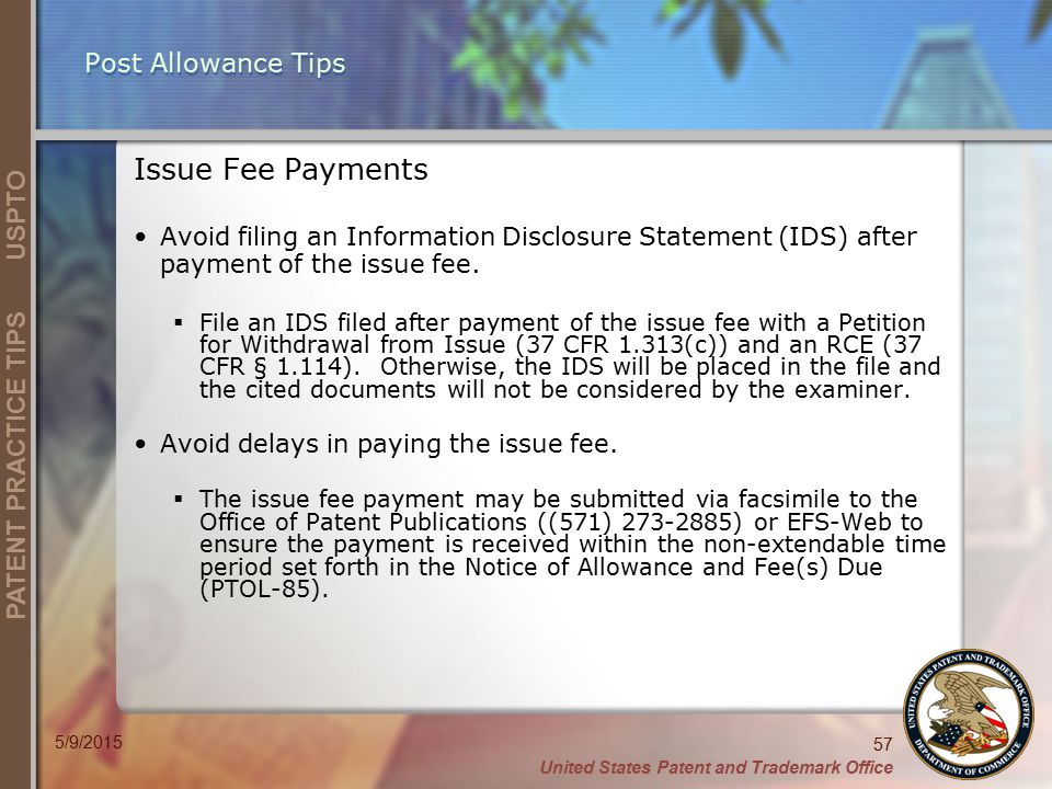 Post Allowance Tips Issue Fee Payments