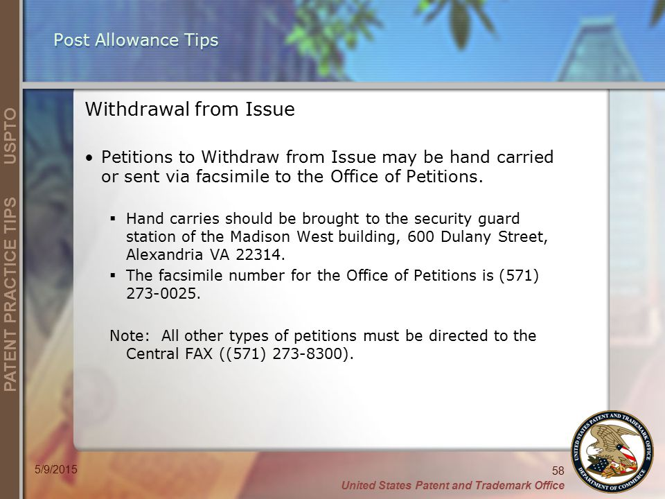 Post Allowance Tips Withdrawal from Issue