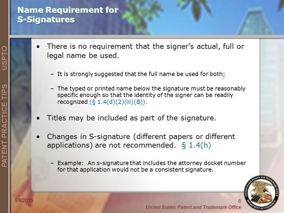Name Requirement for S-Signatures