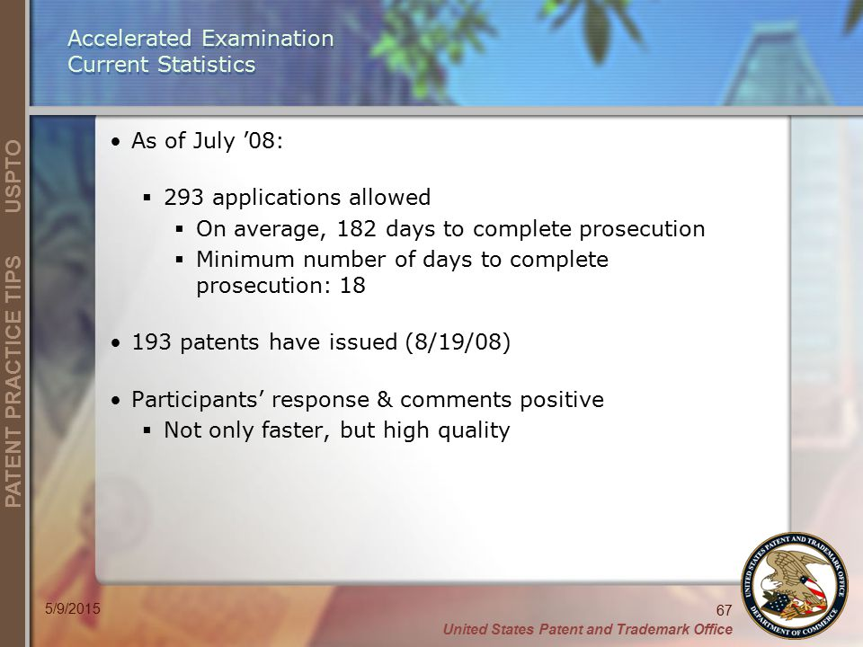 Accelerated Examination Current Statistics