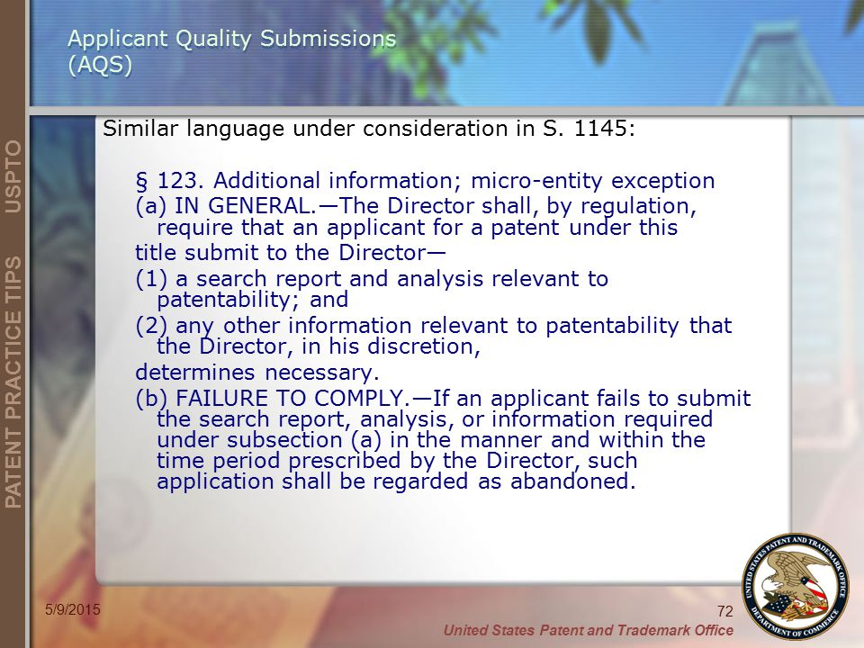 Applicant Quality Submissions (AQS)