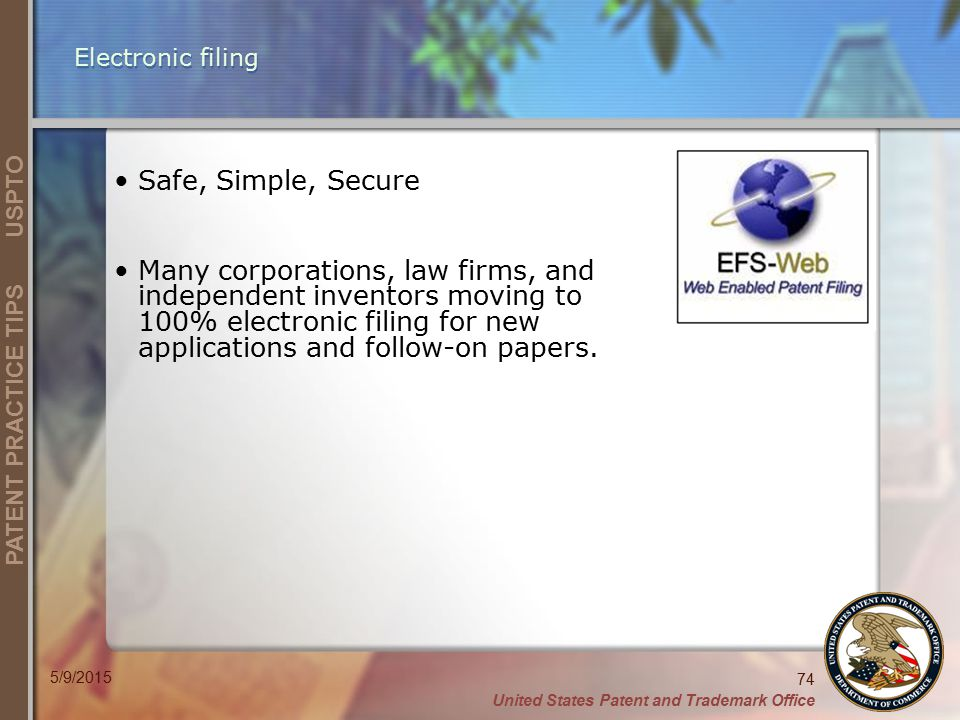 Electronic filing Safe, Simple, Secure.