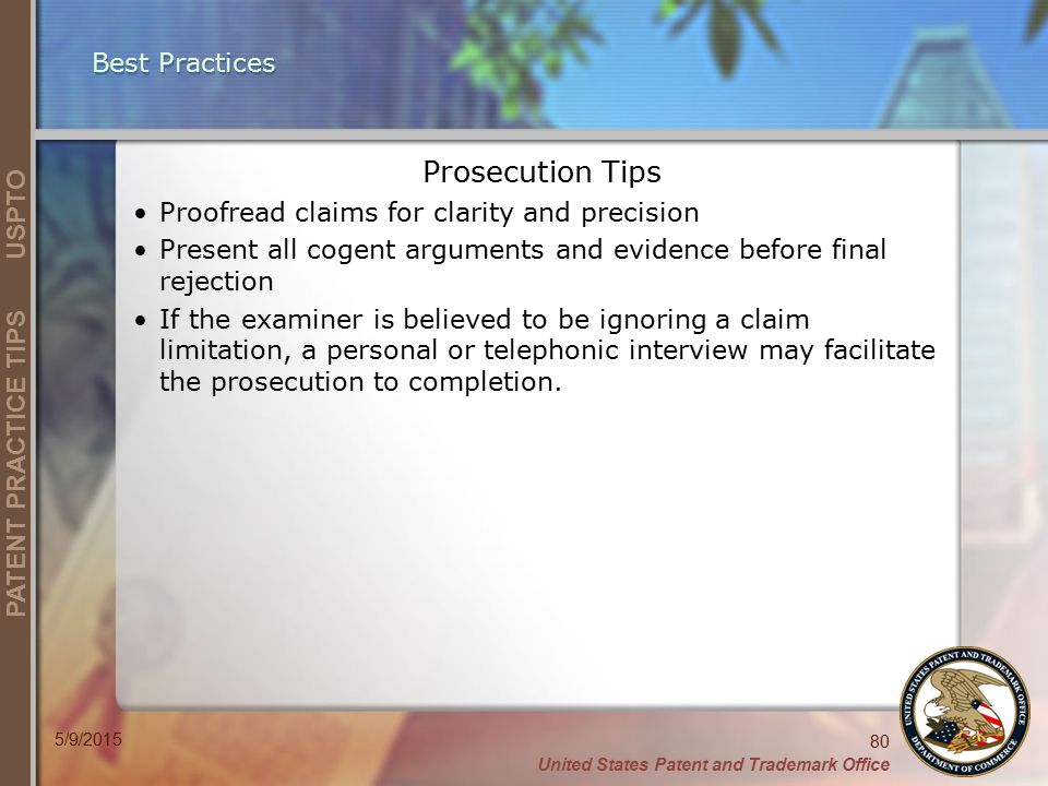 Prosecution Tips Best Practices