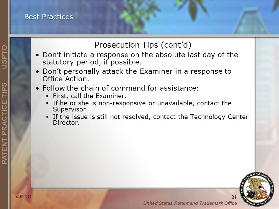Prosecution Tips (cont'd)
