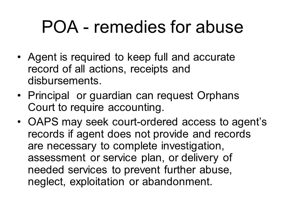 POA - remedies for abuse