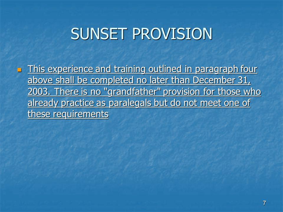 SUNSET PROVISION
