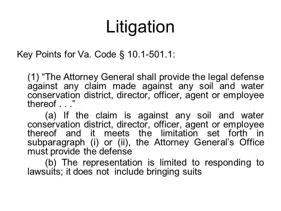 Litigation Key Points for Va. Code § 10.1-501.1: