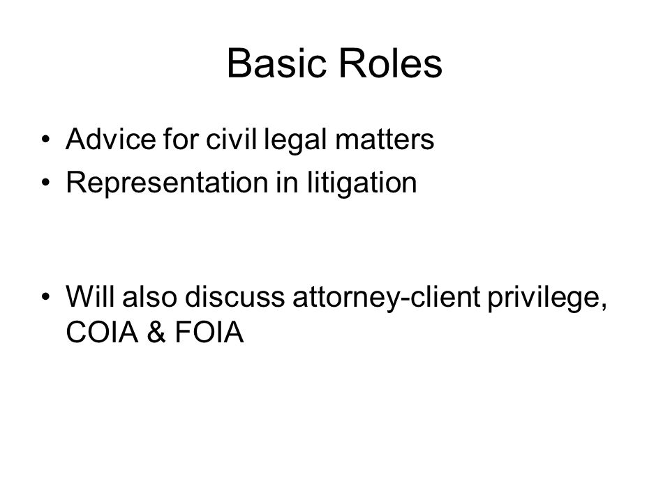 Basic Roles Advice for civil legal matters