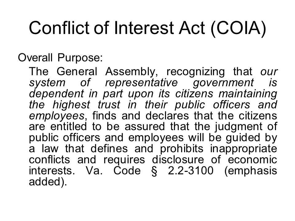 Conflict of Interest Act (COIA)